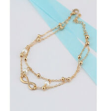 Women Fashion Double Chain Ankle Anklet Bracelet Barefoot Sandal Beach Foot Gift