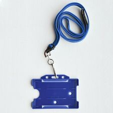 Blue Vertical/Portrait Double Sided ID Card Holder & Blue Neck Strap Lanyard