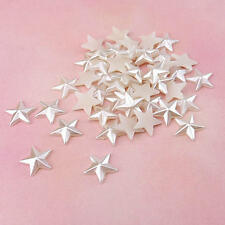 Buddly Crafts 14mm Flatback Pearls - 50pcs White Stars P29
