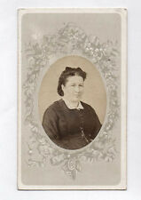 PHOTO ANCIENNE CDV Femme Mode Robe Berubet Clermont Ferrand Ovale Vers 1880