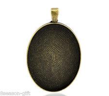 "50PCs Bronze Tone Oval Frame Cabochon Setting Pendants 50x32mm(2""x1 2/8"")"