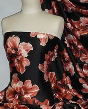 Soft Silky Polyester Dress & Blouse Fabric- Floral Bloom Black/ Red POLY57 BKRD