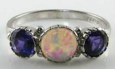 DIVINE 9K WHITE GOLD VINTAGE INS AAA OPAL& AMETHYST RING