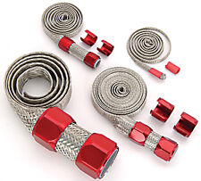 Universal Stainless Braided Hose Cover Kit W/ Red Clamp Covers Hot Rod V8
