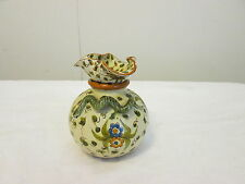Antique Cantagalli Jar with Figural Snake and Unusual Lid Rooster Marks