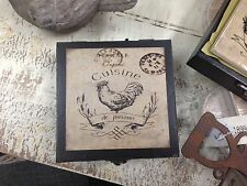 FRENCH ROOSTER COASTERS chicken 4 designs kitchen dining bar ceramic timber box