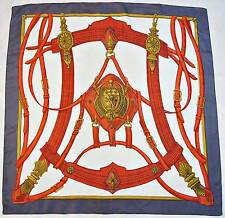 "VINTAGE AUTHENTIC EQUESTRIAN ROYAL HORSE HARNESSES RED SILK 33"" SQUARE SCARF"