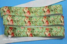 "5 yards 5/8"" Roses on Green Background  Fold Over Elastic Ribbon Trim"