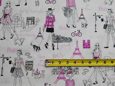 Parisian Paris Ladies Eiffel Tower w Glitter BY YARDS Timeless Treasure Fabric