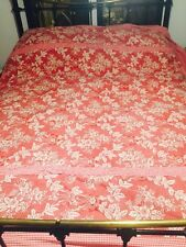 """VINTAGE BEDSPREAD KINGSIZE LAURA ASHLEY PATCHWORK RED CHECK & RASPBERRY 100""""x92"""""""