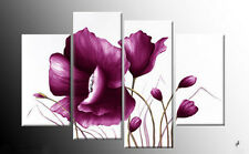 LARGE PLUM PURPLE CANVAS PICTURE FLOWER FLORAL PAINTING SPLIT MULTI PANEL