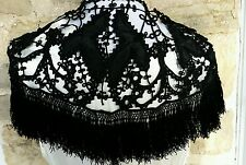 Rare! 1800s Steampunk Victorian Mourning Lace Cape Shawl, Corded Button Detail!