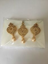 New Bollywood Indian Costume Jewellery Earring Tikka Bronze Gold Stones.
