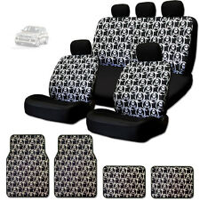 NEW COOL SKULL DESIGN FRONT AND REAR CAR SEAT COVERS FLOOR MATS SET FOR VW