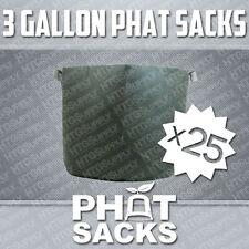 """(25) 3 GALLON FABRIC GROW POTS AIR PRUNE SMART DIRT REUSABLE BAGS 7.75"""" x 10.5"""""""