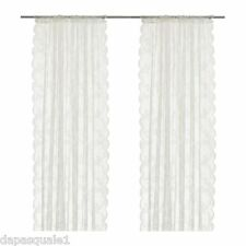 IKEA ALVINE SPETS - Pair of Lace Curtain Window Panels Sheer Off-White 57 x 98