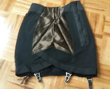 Vintage high waist shape wear spandex black & brown garter belt  M-L