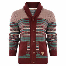 New Mens  Brave Soul Star  Button Cardigan Jacquard Jumpers Knitted   Pullover