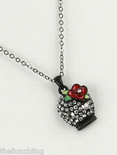 Gothic Day of the Dead Black Skull Pendant Necklace with Crystal Bling