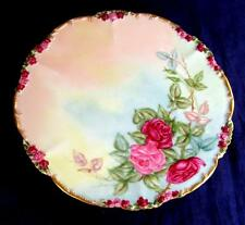 Unusual Rose Mold JPL Pouyat Limoges Hand Painted Roses Cabinet Plate