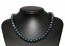 Black Peacock Shades Freshwater Pearl Necklace 45cm 925 Sterling Silver Hook