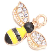 10pcs ON SALE Gold Plated Yellow&Black Enamel Bee Rhinestone Alloy Pendant L