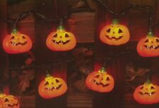 HALLOWEEN 10 LIGHTED CARVED PUMPKIN JOL BLOW MOLD COVERS LIGHT STRAND STRING SET