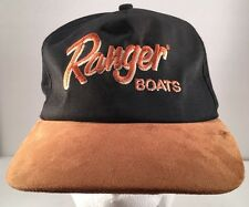Vintage Ranger Boats Leather Brim Black Snapback Hat K Products Made in USA