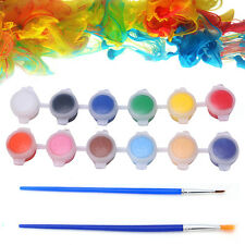 12 Colors Acrylic Paints Pigment with 2 Brushes Nail Art Wall Oil Painting Tools