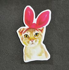 Cat with Bowtie headband Sticker Skateboard Guitar Bike Car Vinyl Laptop Decal
