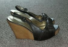 ♡NEXT Brown Leather Platform Wood Wedge Heels|Sandals|Size5.5|L@@K!♡