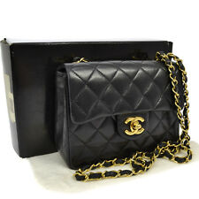 Auth CHANEL Quilted Chain Shoulder Bag Black Leather Vintage EXCELLENT AK09583