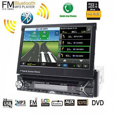 1 Din Retractable HD GPS Navigation Car Stereo DVD Player Bluetooth InDash Audio