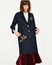 Zara Navy Patch Coat Jacket Flowers Folk Size M