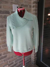 LUCIA  Knit Pullover Sweater   Wool / Acrylic   Turquoise Sz 12  Cowl neck  Ger.