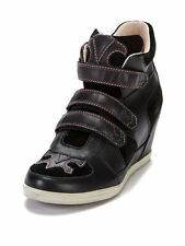NEW KOOLABURRA $185 BLACK LEATHER PRESTON WEDGE SNEAKER SHOES SZ 8