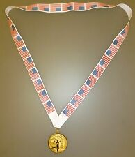 USA OLYMPIC MEDAL - Gold Olympic Style Medal with American Flag Lanyard (MI3)