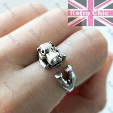 QUIRKY 4 legs HIPPO antique silver fashion WRAP RING hippopotamus CUTE ANIMAL