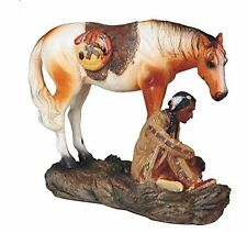 8 Inch Native American Indian Warrior with Horse Statue Figurine