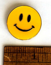 "VTG ENAMEL SMILEY FACE PIN-BACK BUTTONS 1"" ROUND YELLOW HAPPY SMILE LAUGH LOVE"