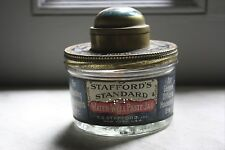 Vintage Stafford's Ink glass paste jar with tin advertising cover/ fountain pen