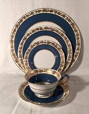 Wedgwood Whitehall Powder Blue Band w Gold Grape Leaves 5 Piece Setting
