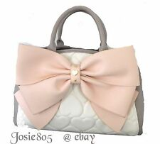 Betsey Johnson QUILTED HEART /BLUSH BOW/ CREAM/GRAY CROSS BODY TOTE SATCHEL