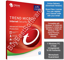 Trend Micro Internet Security V.10 | 1 PC | 2 Year | Brand New | Online Delivery