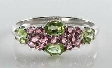 LUSH 9K 9CT WHITE GOLD PERIDOT & PINK TOURMALINE ART DECO INS RING FREE RESIZE