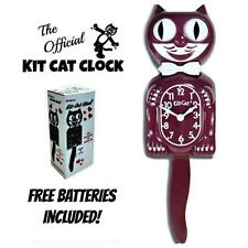 """BURGUNDY RED KIT CAT CLOCK 15.5"""" Maroon Free Battery LIMITED EDITION MADE IN USA"""