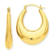 14K Yellow Gold Polished Hollow Tapered Style Hinged Post Oval Hoop Earrings