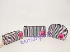 VICTORIA'S SECRET SET OF 3 STRIPPED COSMETIC BAG MAKE UP BAG NWT