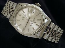 Mens Rolex Datejust Stainless Steel Watch w/Silver Dial & 18K White Gold Bezel