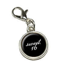 Sweet 16 Sixteen Birthday on Black - Antiqued Bracelet Charm with Lobster Clasp